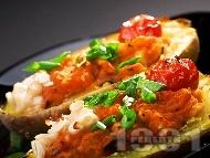 Пълнени картофи с боб и доматено пюре на фурна